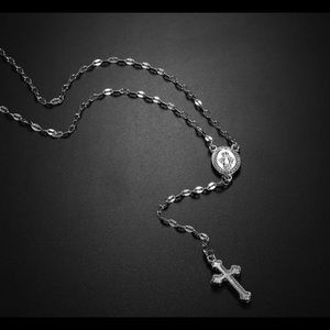 Women's/kids  silver rosary beads necklaces